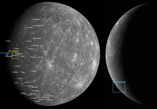 Locations of MESSENGER Mercury Flyby 2 detail images as of October 7, 2008