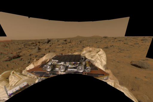 Sojourner just after Mars Pathfinder's landing