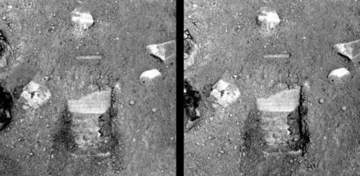 Site of Phoenix' first scoop into the Martian dirt