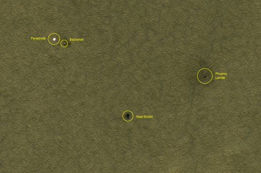 Phoenix landing site monitoring from HiRISE: July 20, 2008 (Phoenix sol 55)