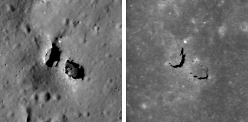 Two views of a lunar natural bridge