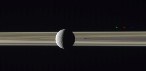 Rhea on the rings with Prometheus and Janus, misaligned (1)