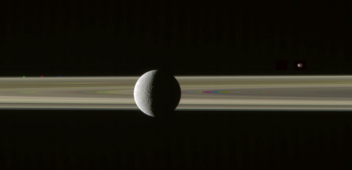 Rhea on the rings with Prometheus and Janus, misaligned (2)