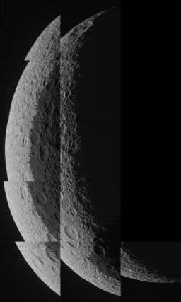 Eleven raw images of Rhea's crescent