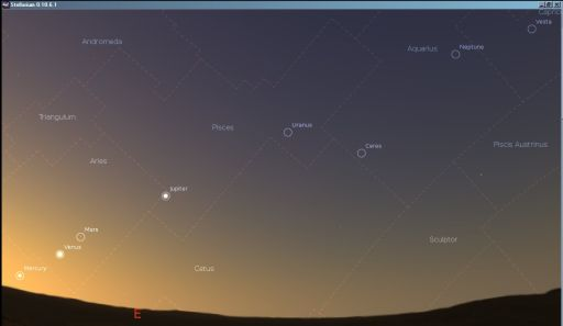 Mercury,  Venus, Mars, Uranus and Neptune shortly before sunrise, June 2011