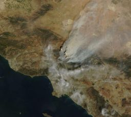 Terra MODIS image of the Station fire, August 30, 2009