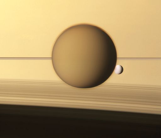 Titan and Dione with Saturn and rings