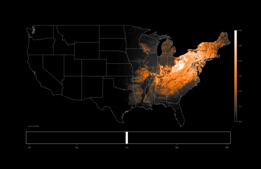 Occurrence map of the Wood Thrush on June 23, 2009 based on eBird observations