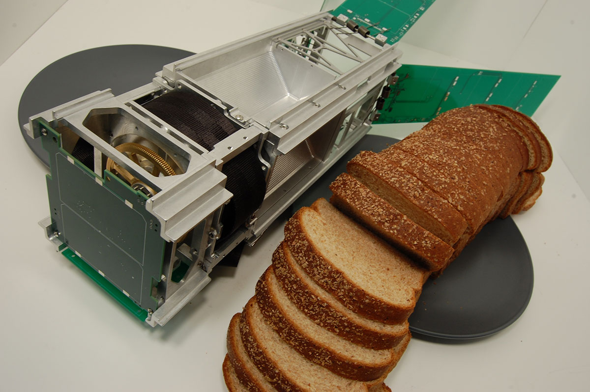 CubeSat and loaf of bread comparison