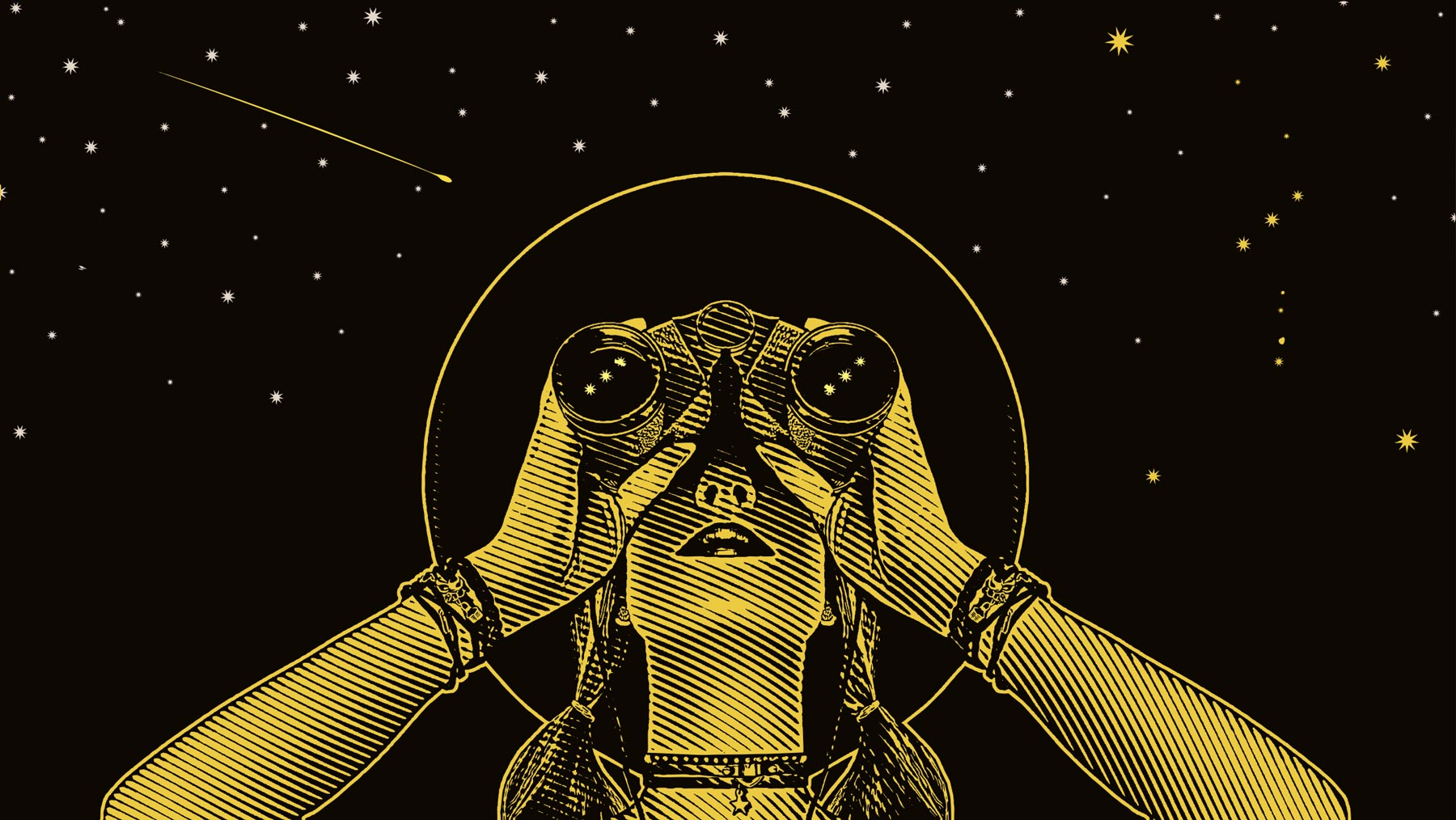 woman with binoculars looking at stars