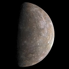 Mercury in color from Mariner 10: Flyby 1 departure view
