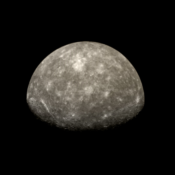 Mariner 10 view of Mercury's south pole from flyby 2