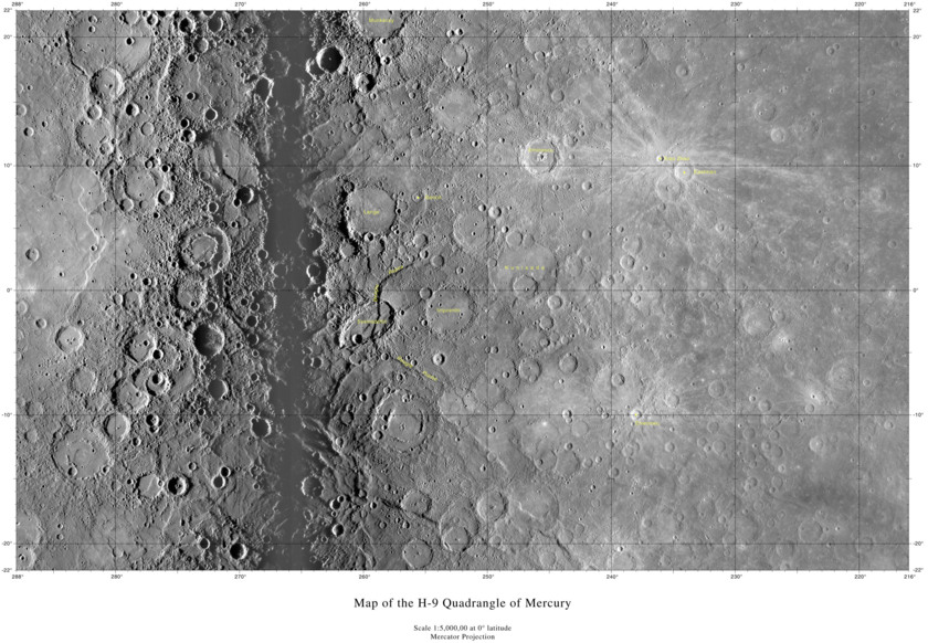 Map of the H-9 quadrangle of Mercury