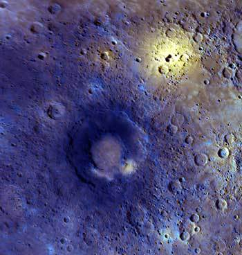 Bright and dark splashes on Mercury's surface