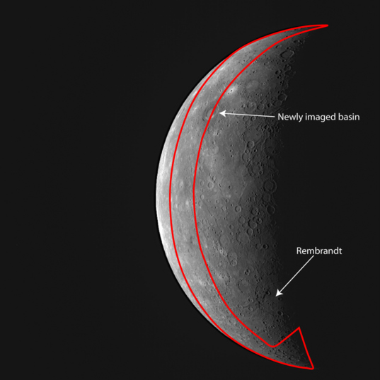 Area of Mercury newly seen during MESSENGER's 3rd flyby