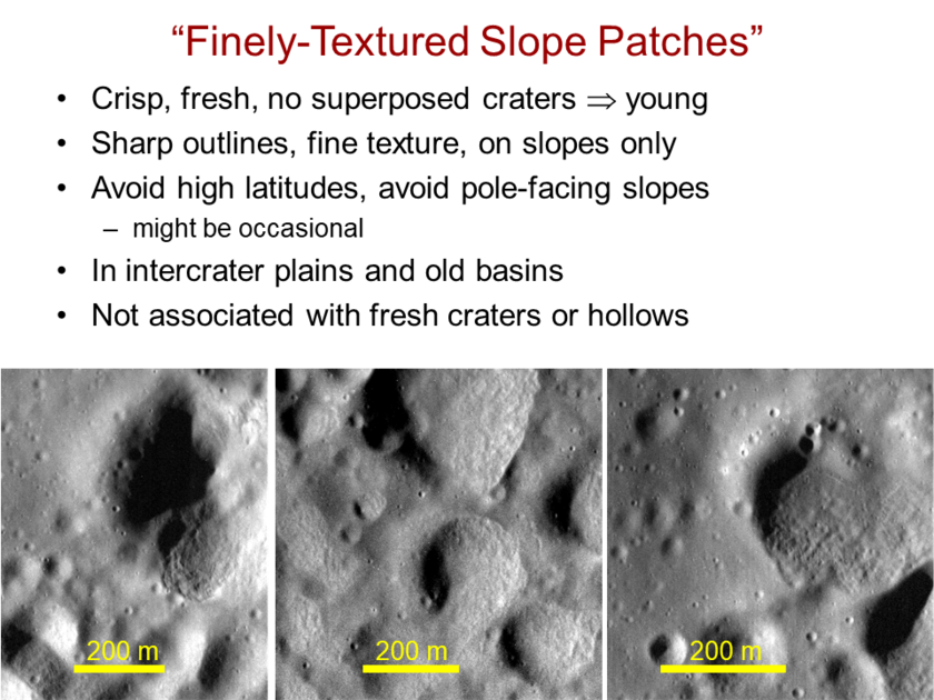 Finely-textured slope patches on Mercury