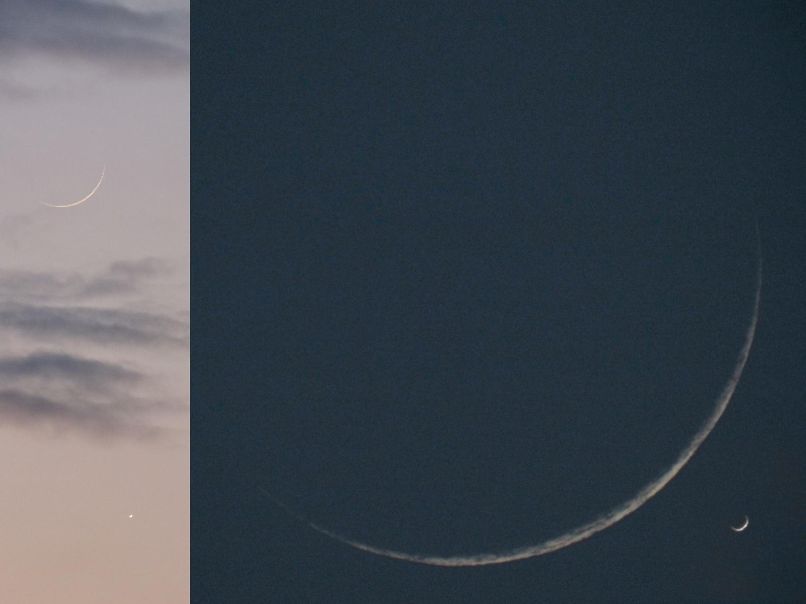 Pretty picture: Two crescents: New moon, old Venus   The