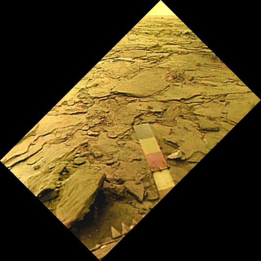 Venera 14 view of the surface of Venus: color chips