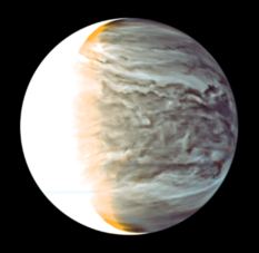 Color image of Venus' glowing atmosphere from Akatsuki's 2-micron camera