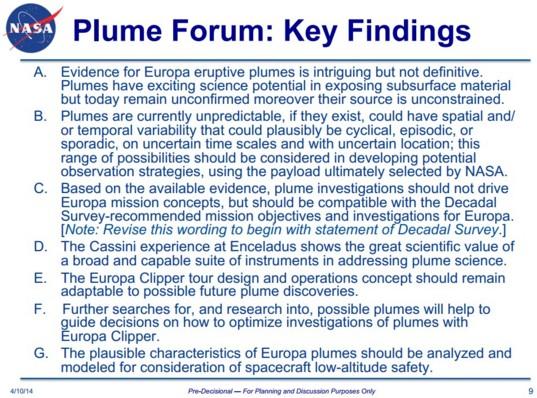 Europa plume findings