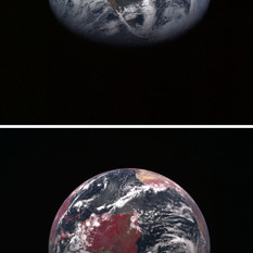 Earth in true and false color as seen by MESSENGER
