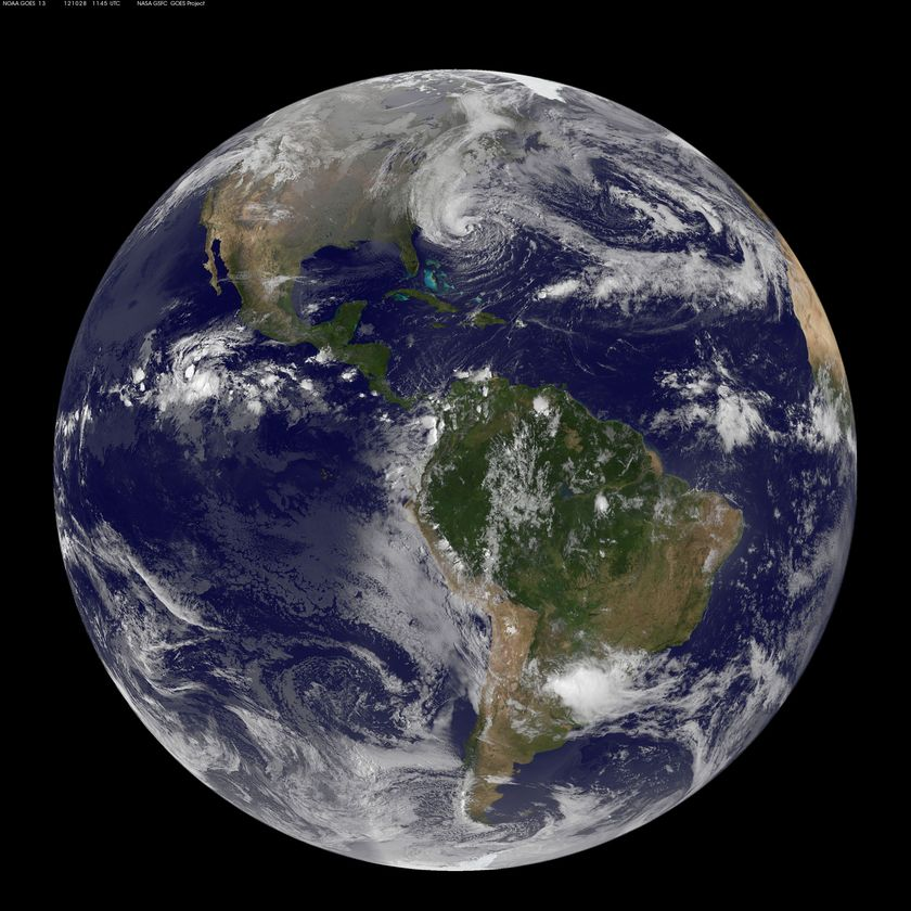 GOES composite image of Earth's globe with Hurricane Sandy, October 28, 2012
