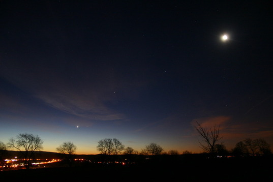 Planets over Cumbria: Moon, Mercury, Venus, and Saturn
