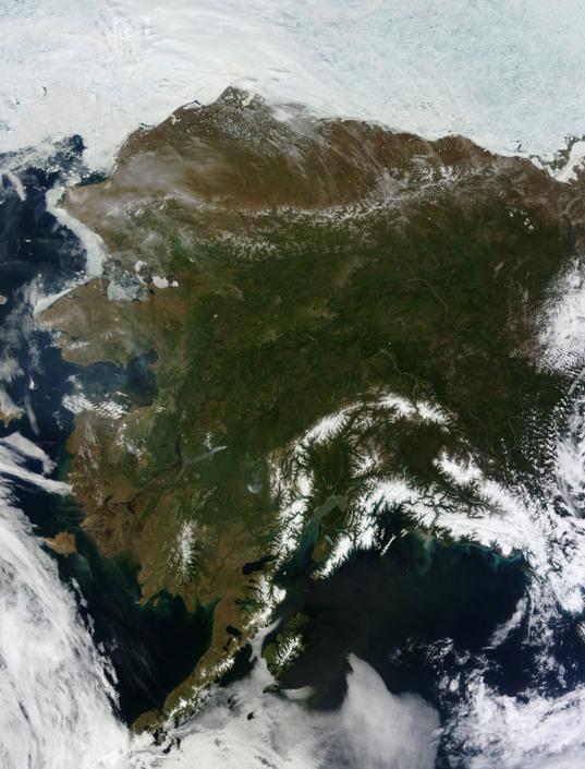 Rare cloud-free view of Alaska from Terra MODIS