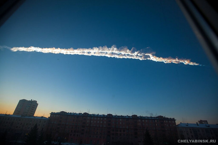 Chelyabinsk meteorite path across the sky
