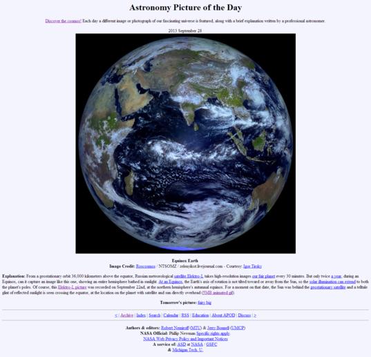Elektro-L view of Earth on APOD