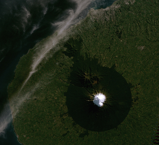 Mount Taranaki, a stratovolcano in New Zealand, from Landsat