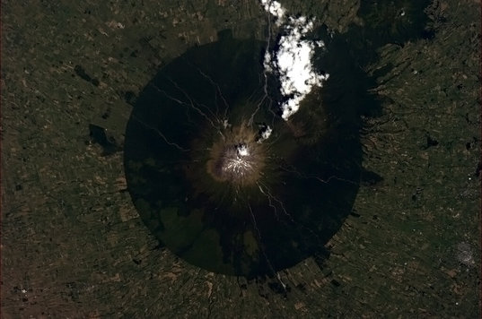 A photo of Mount Taranaki, a stratovolcano in New Zealand, Tweeted from space