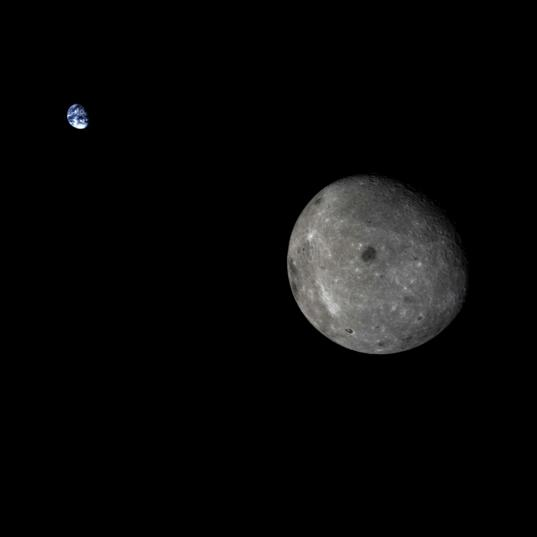 Earth and the Moon from Chang'e-5 T1 beyond the lunar farside