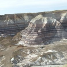 The badlands terrain of the Painted Desert