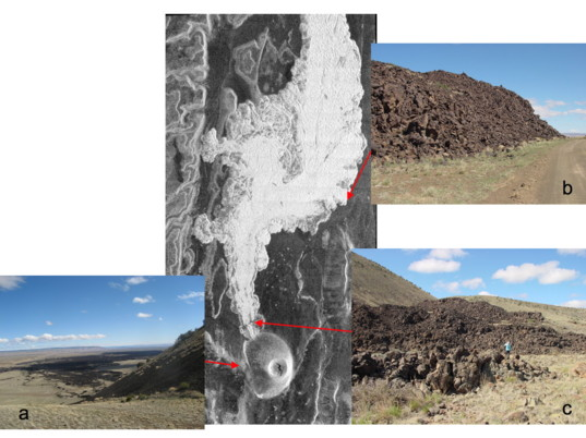Radar and ground truth images of SP cone and lava flow, Arizona