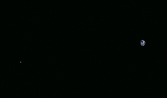 Hayabusa2 image of Earth and the Moon, November 26, 2015