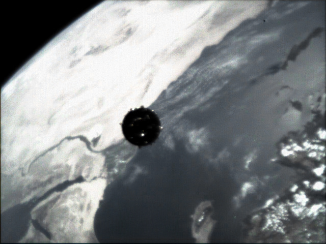 Cluster's Tango spacecraft viewed from Rumba, July 16, 2000