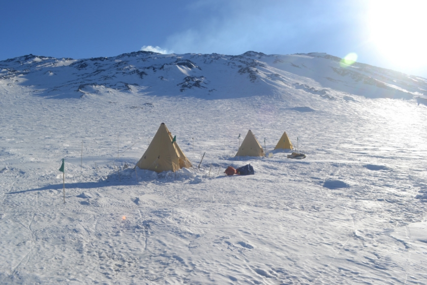 Tents on Fang Glacier