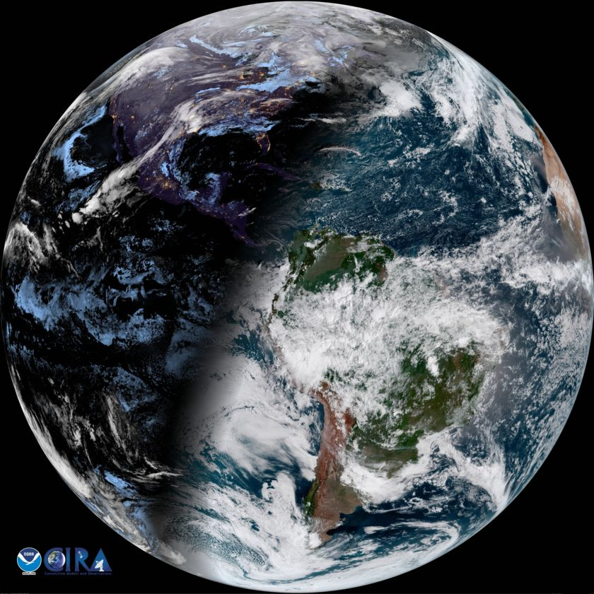 Earth from GOES-East satellite