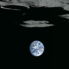 Lunar South Pole Earthset Viewed by Kaguya
