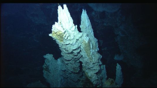 Calcium carbonate spire in the Lost City hydrothermal field