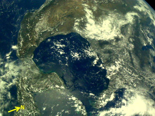 Gulf of Mexico from Chandrayaan-2 LI4 Camera on 3 August 2019
