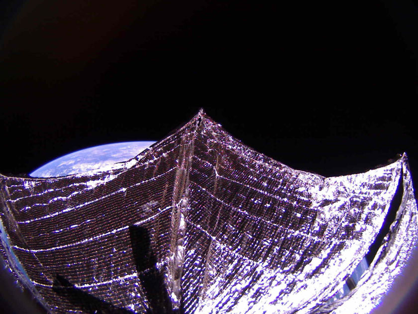Shadows from LightSail 2 solar panels on sail