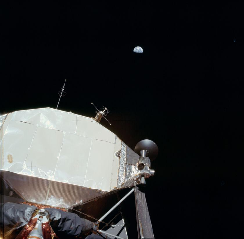 Earth with Apollo 11 Lunar Lander