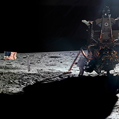 Neil Armstrong at the Apollo 11 Lunar Module on the Surface of the Moon