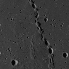 Chain of Elliptical Craters on the Moon (wide & detail)