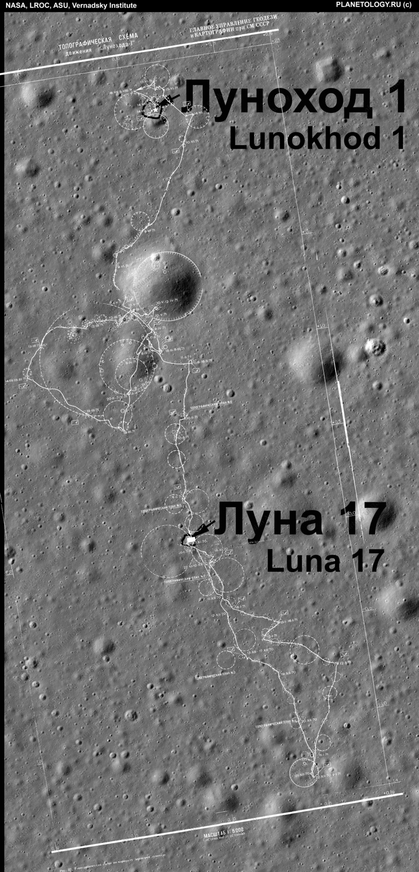 Lunokhod 1's path as seen from LROC