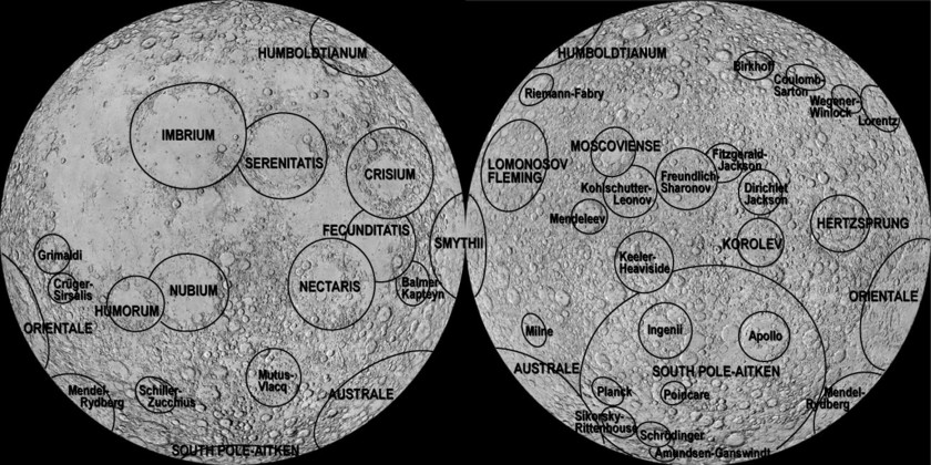 The Moon's major impact basins