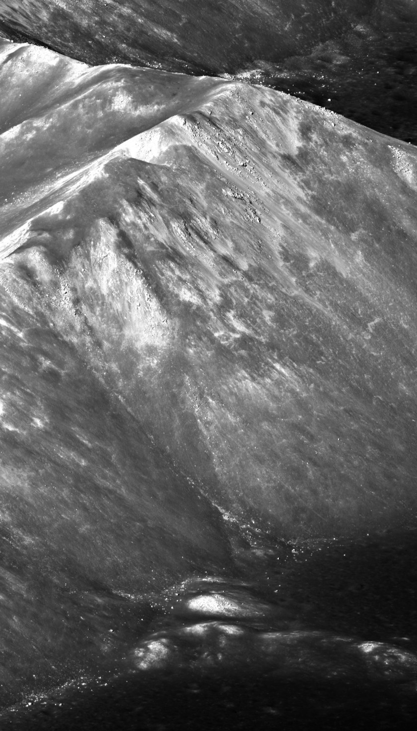 Detail view of Tsiolkovsky crater central peak