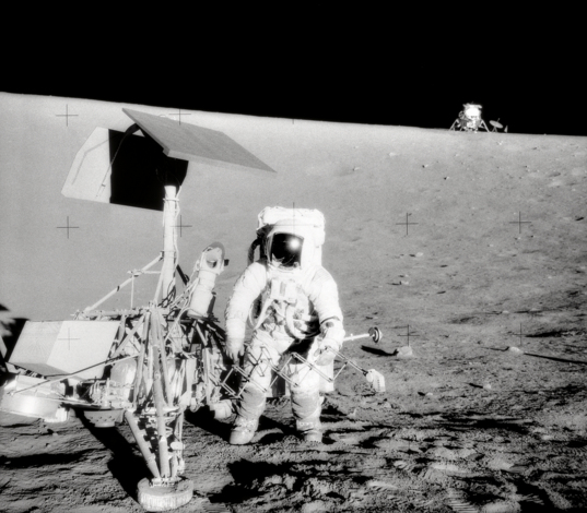 Pete Conrad with Surveyor 3 during Apollo 12
